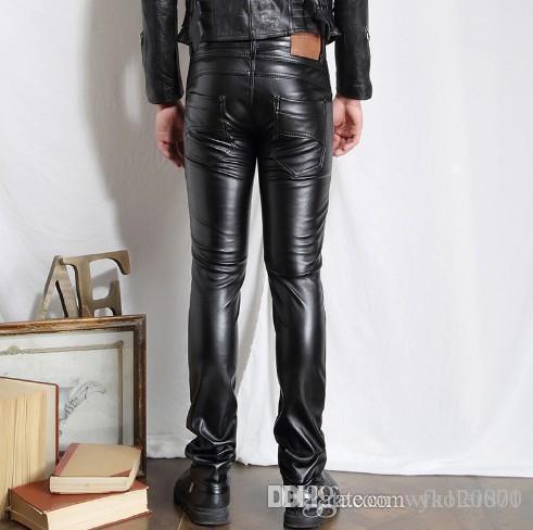 Wholesale 2017 men Hip Hop Mens Leather Pants Faux Leather Motorcycle Skinny Faux Leather Outdoor Pants fashion pants
