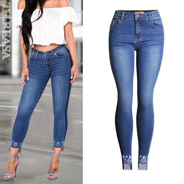Gestickte Jeans Hohe Taille Hohe elastische Frauen Jeans American Style Skinny Pencil Denim Pants Plus Size