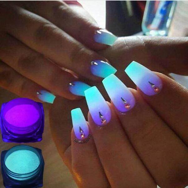 Yeni 15 adet / grup Neon Fosfor Tırnak Glitter 10 Renkler Toz Aydınlık Pigment Floresan Tırnak Glitters karanlıkta Glow