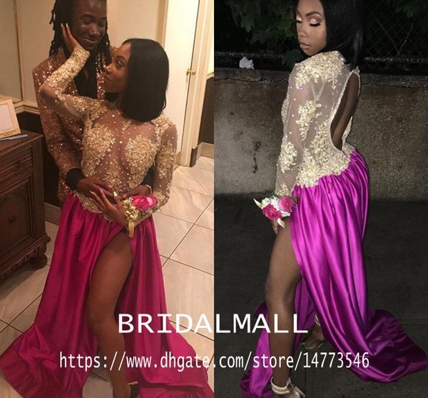 Backless 2020 Illusion Bodice Gold Appliqued African Prom Dresses Sheer Long Sleeves Vestido de noche formal Sexy Side Slit Party Party Gown