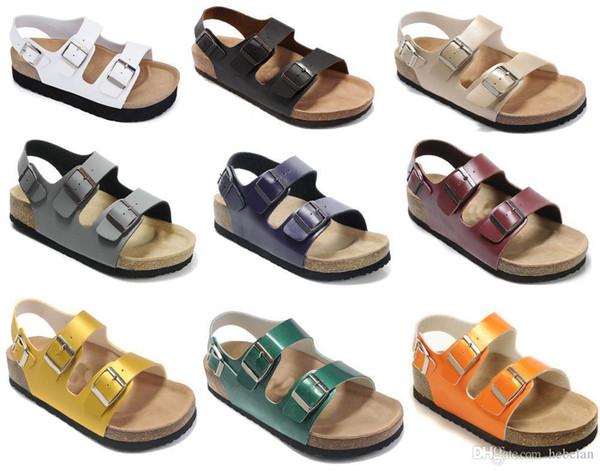Новый Бренд Аризона Горячее надувательство летом Мужчины Женщины Толстые дно сандалии Корк случайные тапочки с открытым носком из натуральной кожи обувь размер 35-46