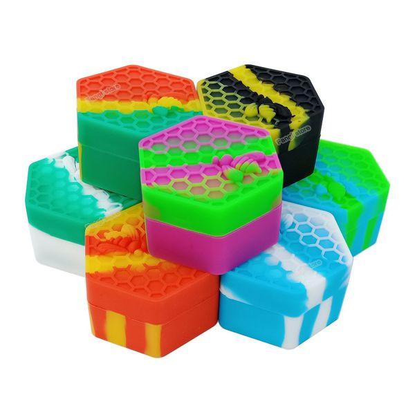 26 ml Hexagon Honeybee Wax Container Jarro de silicona antiadherente Dab Wax Container Oil Slicks Silicone Jar para almacenamiento Bho Oil ENVÍO GRATIS