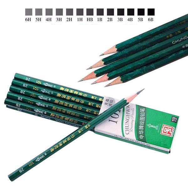 10pcs High Quality HB 2H 2B 3B 4B 5B 6B Safe Standard Wood Pencils Painting School Supplies Sketch And Drawing Pencil Set 05408