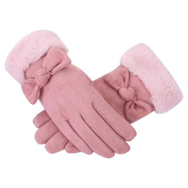 Guantes de mujeres Guantes de ante del Faux caliente del otoño y del invierno de los guantes de felpa doble espesan los dedos de arco completo de las manoplas de color rosa Guante manopla @ py