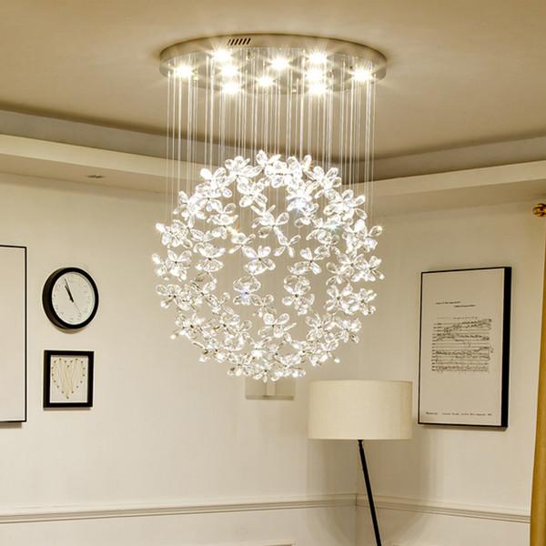 New design 3 lighting colors modern crystal flower chandelier lights flush mount ceiling chandeliers lighting round led pendant lamps