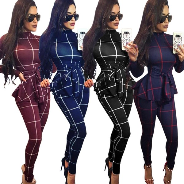 Y142 Women's Clothes New Pattern Autumn And Winter Women's Clothes Leisure Time Lattice Conjoined Pants Contain Belt Goods In Stock
