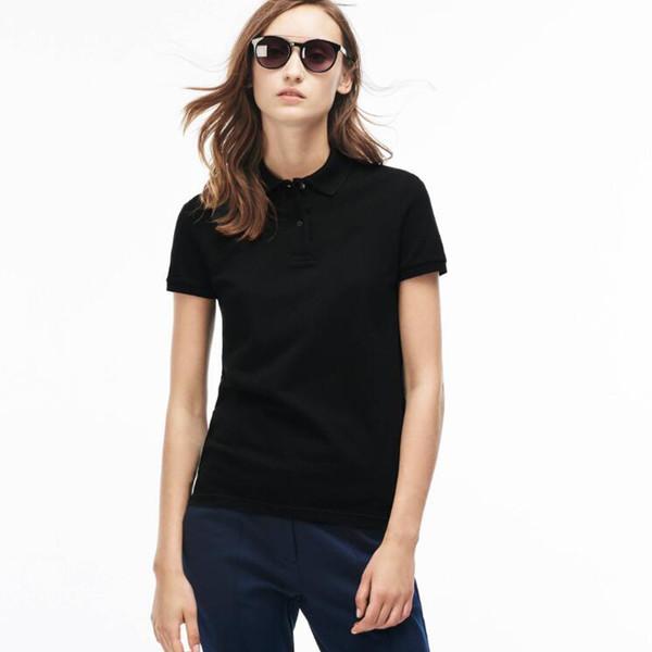 النساء بولو قميص جديد الصيف التمساح التطريز نمط قصيرة الأكمام soild اللون القطن بولو قمصان امرأة نوعية جيدة قميص بولو حجم m-2XL