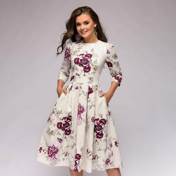 Vestido de una línea de primavera y otoño de verano para mujer Fiesta floral retro con siete mangas, cuello redondo, vestido de mujer