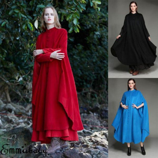 Mulheres Inverno Casuais Sólidos Botão Solto Manga Comprida Capa Senhoras Casaco Casacos Manto
