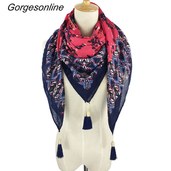 En gros Bon Prix 24 Couleurs 2017 Mode Chaude Belle Impression Tassel Suspendus Foulards Foulards Carrés Pour Les Femmes Costume