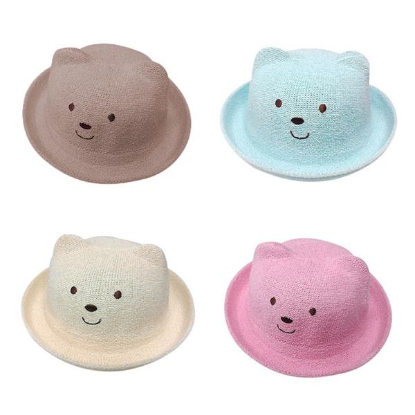 Yaz Bebek Şapka Karikatür Çocuk Nefes Hasır Şapkalar Çocuklar erkek Kız Kap Çocuk Kedi Kulaklar Güneş şapka Çocuklar Sevimli Plaj Panama Caps