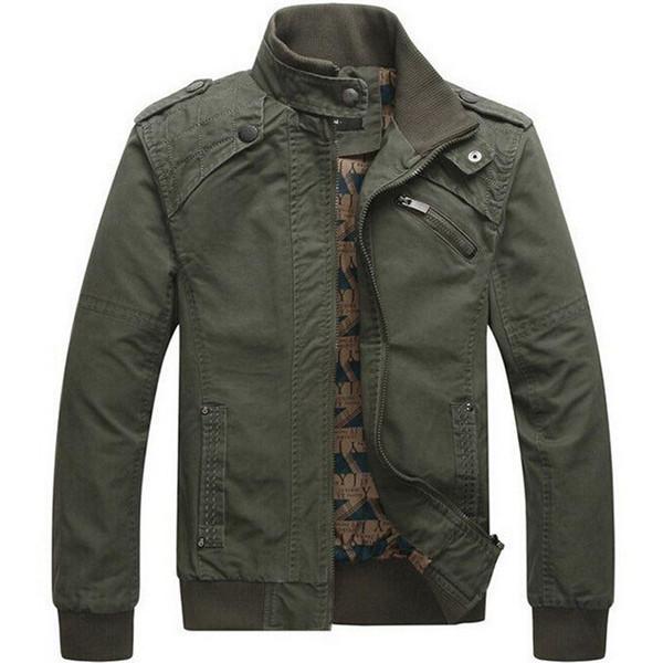 Männer Jacke Lässige Baumwolle gewaschene Mäntel Army Military Outdoors Stehkragen Oberbekleidung jaqueta masculina Mantel Parka Herren Jacken