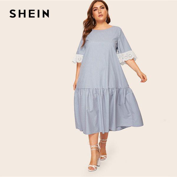 SHEIN Plus Size Blue Contrast Embroidered Eyelet Cuff Striped Boho Long  Dress Women 2019 Loose Flounce Hem Summer A Line Dresses Dress Fashion ...