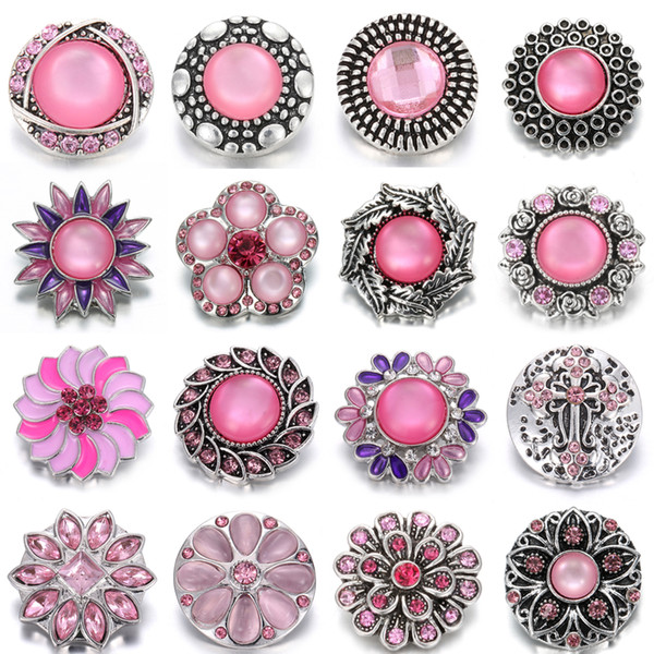 Noosa Chunk Snap Button Jewelry Pink Rhinestone Metal 18mm Snap Button DIY Charms Fit Noosa Bracelets necklace