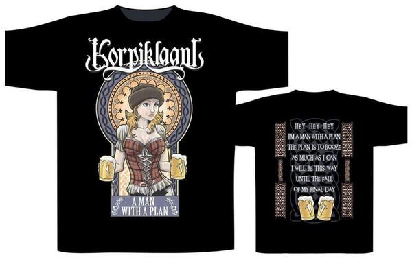 Korpiklaani A Man with A Plan Shirt S-3XL Folk Metal Tshirt Official Short Sleeve Discount 100 % Cotton T Shirts