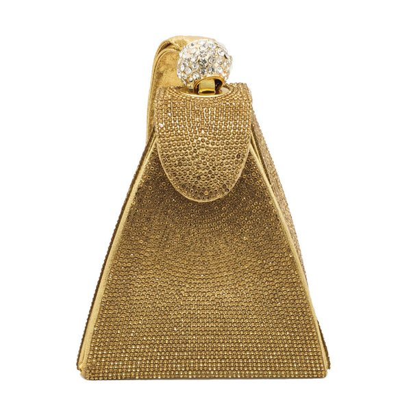 2019 new arrival Woman Pyramid shaped evening bag gold sliver tote handbag lady Clutch bag desinger for wed/banquet/party Rhinestone