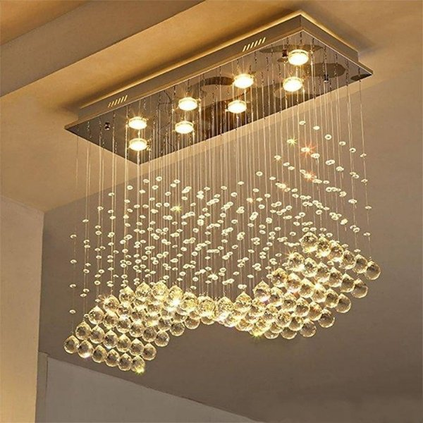 Contemporary Crystal Rectangle Chandelier Rain Drop k9 Crystal Ceiling Light Fixture Wave Design Flush Mount For Dining Room