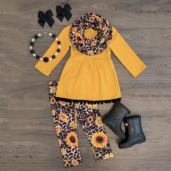 Baby girl autumn winter leisure three-piece set Toddler Baby Girls Tassels Dress+Leopard Sunflower Print Pants+Scarf Outfits