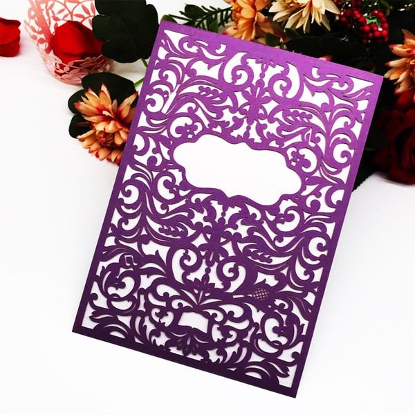Laser Cut Pearl Paper Wedding Invitation Card Marriage Annivery Birthday Party Business Card Event Party Supplies Greeting Blessing Card Birthday Card