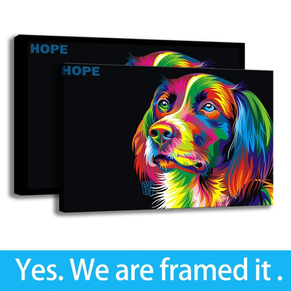 Art Canvas Colorful Dog HD Print Hallway Wall Art Home Decor Oil Painting- Ready To Hang - Framed