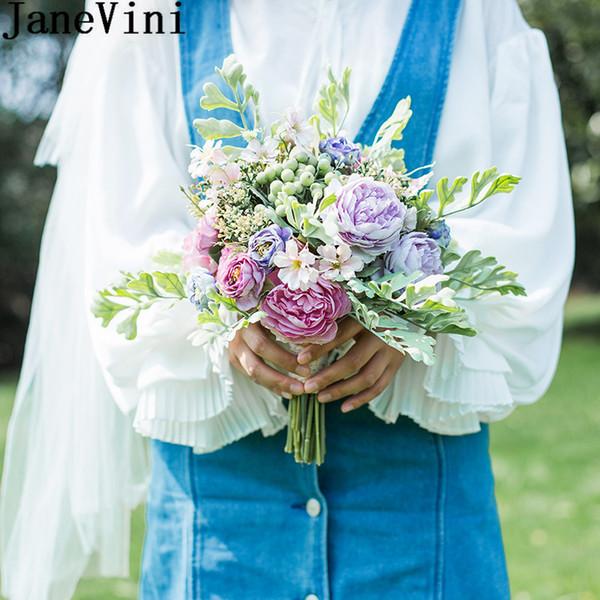 JaneVini Silk Brautjungfer Bouquets künstliche Pfingstrose Rose Trouw Boeket 2019 kleine Braut Hochzeit Bouquet Griff Braut mit Blumen