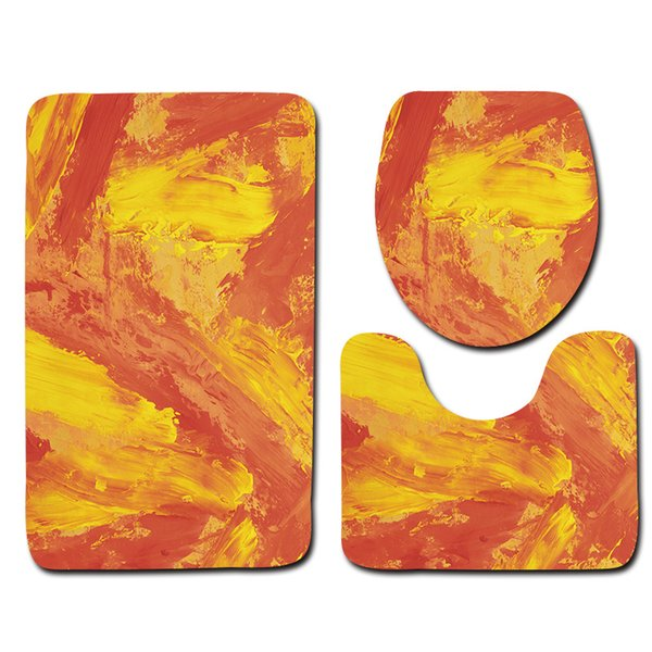 Abstract painting Eco Friendly 3Pcs Anti Slip Anchor Toilet Carpet Bathroom Mat Set Flannel Toilet Seat Cover Three Pieces of Bath Mat Bath