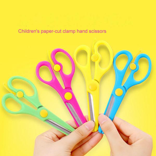 Los niños cortan el papel de la abrazadera tijeras de mano Student Artists'Anti clip Manual de tijeras DIY Mano de seguridad de acero inoxidable tijera