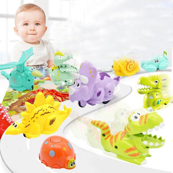 top popular Kids Pressure Inertial Sliding Dinosaur Toy Mini Press Slide Crawling Dinosaur Car Gift Intellectual Development Present Single OPP Bag 2019