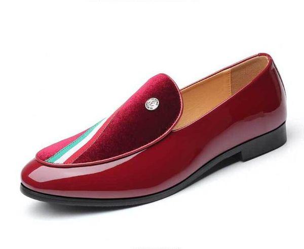 Acheter Mode Européen Style Casual Mocassins Formels Luxe Rouge En Cuir Hommes Chaussures De Mariage Hommes Sapato Social Bureau Chaussures Z158 De