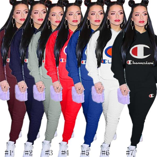 Women Designer Tracksuits Fashion Autumn Winter Champion Outfits Hoodie + Pants Leggings 2 Piece Sweatsuit Long SLeeve Sportswear 3xl C8501