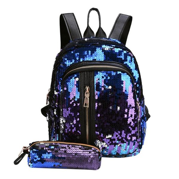 2pcs/Set New Teenage Bling Glitter Sequins Backpack Girls Rucksack Students School Bag with Pencil Case Clutch