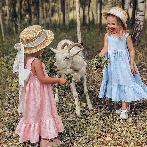 Enfant en bas âge bébé filles solide gilet sans manches robe de princesse tenues de ceinture ensemble Sukienki Dla Dziewczynek 2019 filles robe d'été