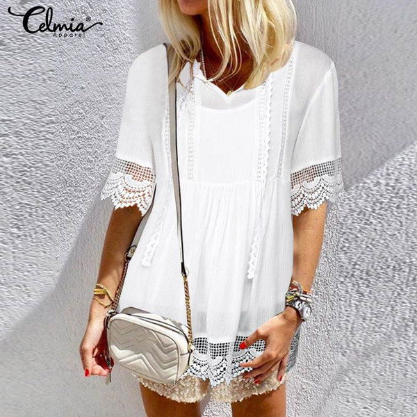 4f78ce16fd2 Celmia Women White Lace Blouse 2019 Summer V Neck Short Sleeve Tunic Shirts  Casual Loose Sexy