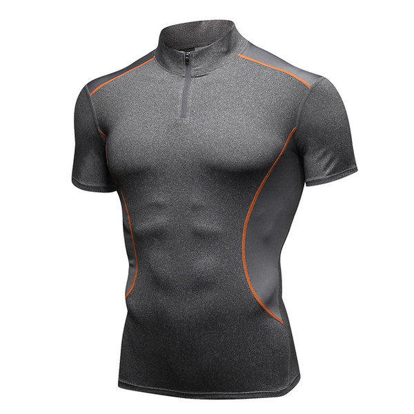 Men's Sport t shirt Stand Collar Fitness short sleeve Stretch Quick Dry tight-fitting T-Shirts Fit Running Basketball Training Tees Tops