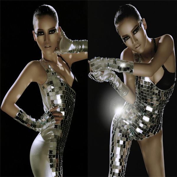 El cantante de fiesta P64 viste disfraces de espejo plateado mono sexy mono de lentejuelas traje de robot de mujer traje de discoteca vestido de bar ropa de fiesta de club