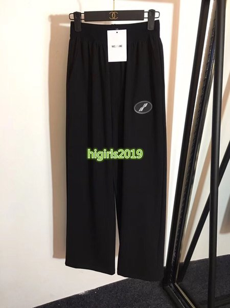 high end women girl elastic waist jogging pants casual relaxed loose wide leg legging pant paris runway fashion design luxury trousers