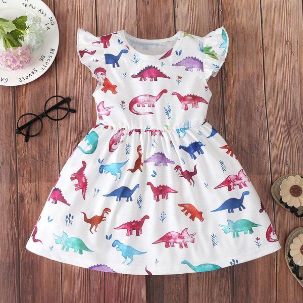 Dinosaur Printed New Boutique Baby Girl Pearl Dress Kids Designer Girls Kids Short Sleeve Animal Dress