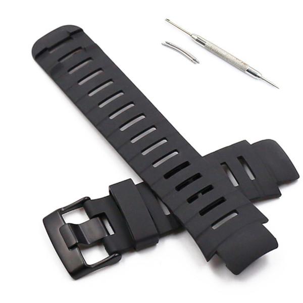 Banda de relógio do silicone do esporte para as correias do esporte de borracha impermeáveis da extremidade da alça dos homens de Suunto X-lander com fivela de aço inoxidável