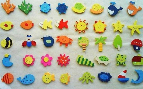 1800pcs/lot Home Decorations Lovely different cartoon Animal Wooden Fridge Magnet fridge stickers free shipping DT12