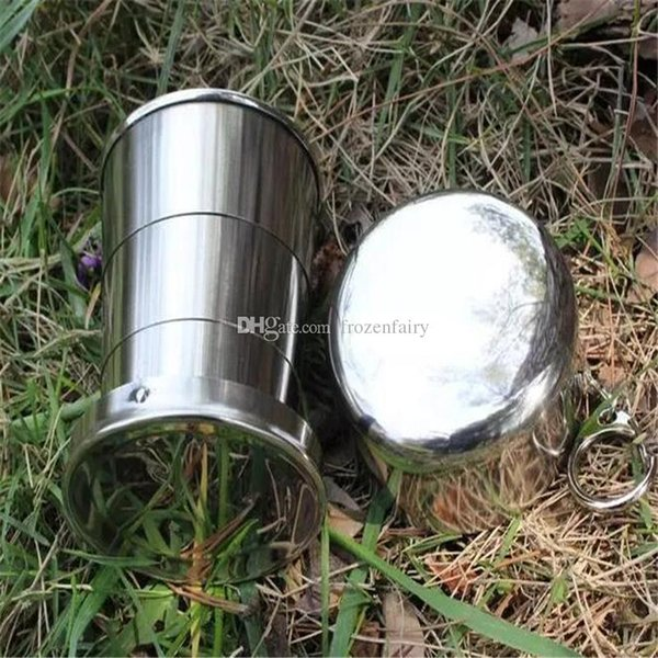Wholesale 150ML Stainless Steel Portable Mini Travel Retractable Cup Keychain Folding Collapsible Cup a96-a101