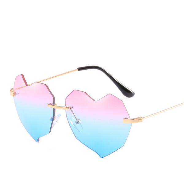 2019 nova moda casais óculos de sol de luxo mulheres marca amor coração sem  aro óculos de alta qualidade uv óculos de proteção elegante óculos de sol f8a3d8ca03