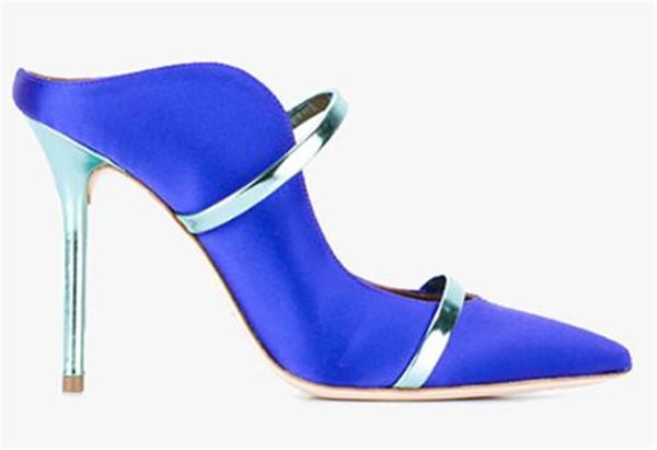 2019 sommer Neue Mode Frauen Spitzschuh Slip-on Pfennigabsatz Pumps Satin Mode Keine Ferse Hausschuhe Formale High Heels Kleid Schuhe