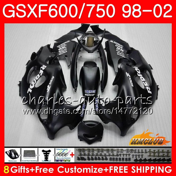 Body For SUZUKI Flat black hot KATANA GSXF 750 600 GSXF600 98 99 00 01 02 2HC.9 GSX750F GSX600F GSXF750 1998 1999 2000 2001 2002 Fairing kit