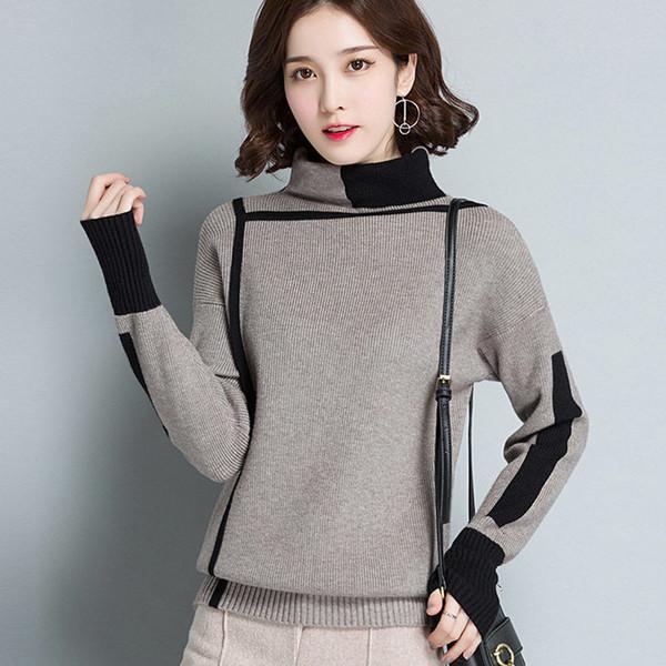 2020 calientes Nuevo Otoño Invierno corto remiendo de la manera de las mujeres del suéter de cuello alto grueso suéter suéteres de punto Mujer Jumper Tops