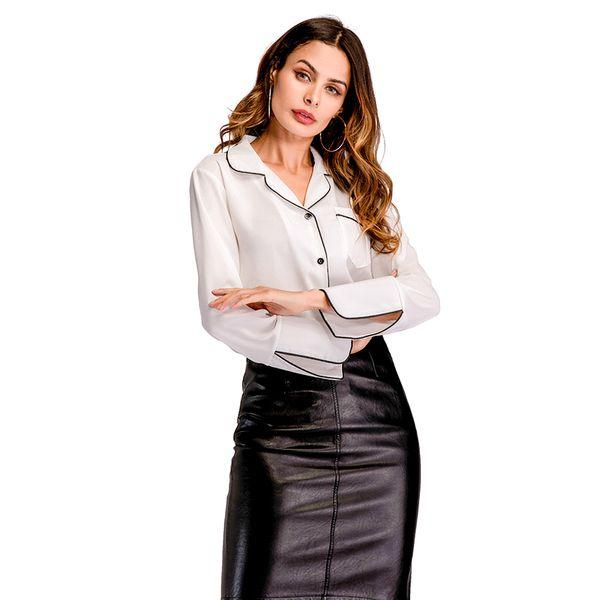 36d8d17aa22e Compre Gasa Blusas De Mujer Camisas 2019 Verano Estilo Europeo Manga Larga  Cuello En V Moda Negro Blanco Mujer Camisas Blusas Ropa A $23.07 Del ...