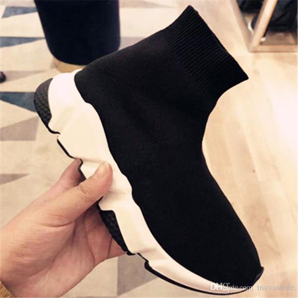 Hot Nouvelles Marques Designers Hommes Femmes Speed Slip Entraîneur -Sur Sneakers Air Wool Knit Sock Chaussures Femme Bottes Chaussettes