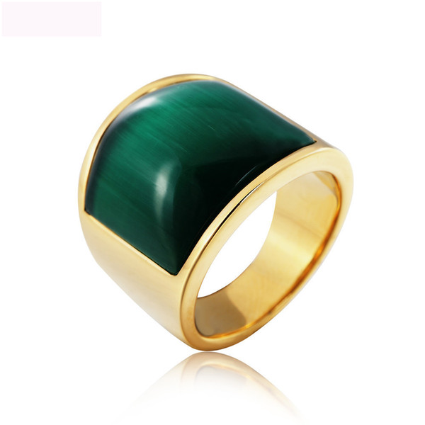 Gold Color Vintage Attractive Titanium Steel Ring Personality Domineering Titanium Steel Ring Men Casting Opal Ring For Man