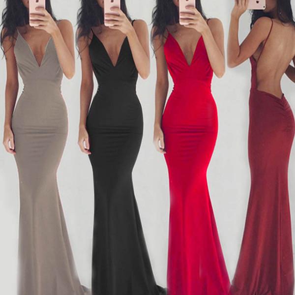 Fishtail Dress Sexy Dress 2019 Solide Bande Spaghetti Stripe Sans Manches Robes De Soirée Femmes V-cou Maxi robes de fête