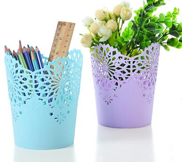 Hollow Flower Pencil Holder Office Stationery Organizer Pen Holder Sundries Storage Barrels Box Makeup Brush Organizer Cosmetics Container