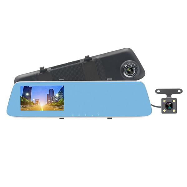 ZIQIAO JL-907 T 4.3 polegadas HD 1080 p Starlight Night Vision Câmeras Duplas Carro DVR Espelho Retrovisor Do Carro DVR